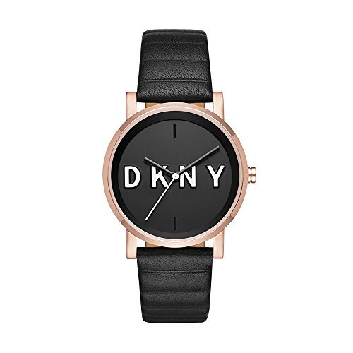 DKNY Women's 'Soho' Quartz Stainless Steel and Leather Casual Watch, Color:Black (Model: NY2633)