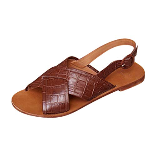 SUNyongsh Women's Sandals Cross Belt Buckle Sandals Fish Mouth High Heel Shoes Belt Buckle Ankle Strap Roman Sandals Red