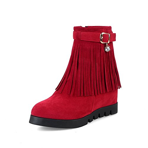 Boots Buckle Retro Wedges Urethane BalaMasa Womens Red Tassels ABL10271 wHFYqfx