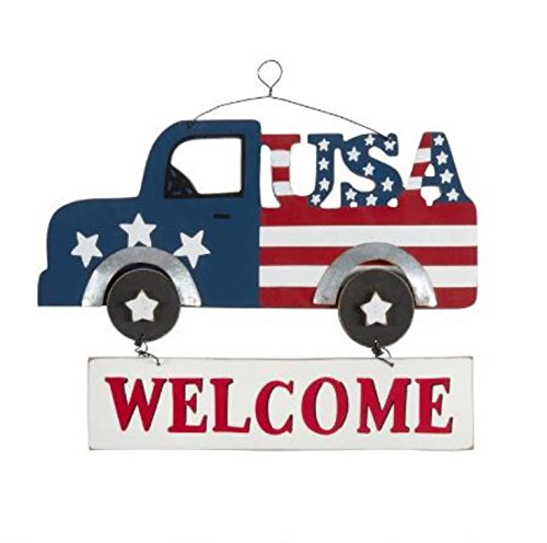 "Nantucket Home Painted Patriotic ""Welcome"" Stars and Stripes Vintage Pickup Truck Wall Hanging Sign (Vintage Wood Sign)"
