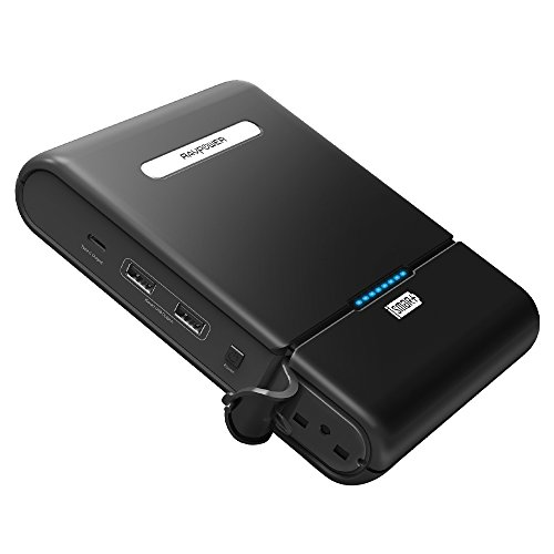 AC Portable Charger, RAVPower 27000mAh 100W(Max.) Built in 110V AC Outlet Universal Power Bank Travel Charger (Type-C Port , Dual USB iSmart Ports , 19V/1.6A DC Input) For Macbook, Laptops, Smartphone by RAVPower