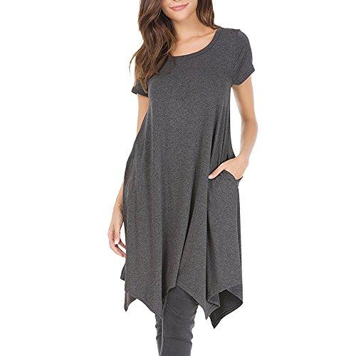 HAALIFE◕‿Women's Pockets Casual Swing Loose T-Shirt Dress Gray