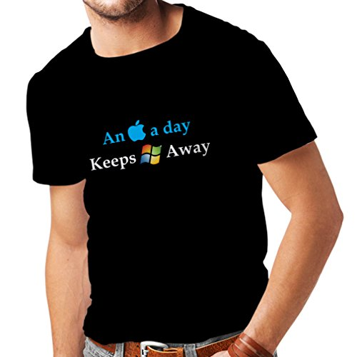 N4246 Mens T shirts An Aplle a day ... (Medium Black - Store Uk Microsoft