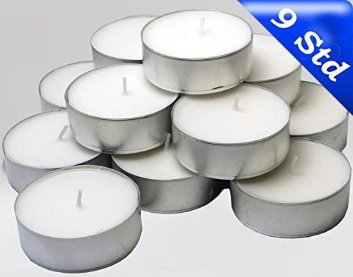 24 Maxi Teelichter im Alubecher, Weiß, Maxilicht, Jumbo Teelichter, ohne Duft, Kerzen, Teelicht, Aluminiumhülle, Gastronomie Qualität, (2 Packungen á 12 Maxi - Teelichter)