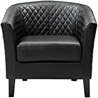 Pulaski Black Faux Leather Upholstered Bucket Accent Chair with Chrome Nailhead, Medium