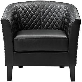 Amazon Com Pulaski Black Faux Leather Upholstered Bucket