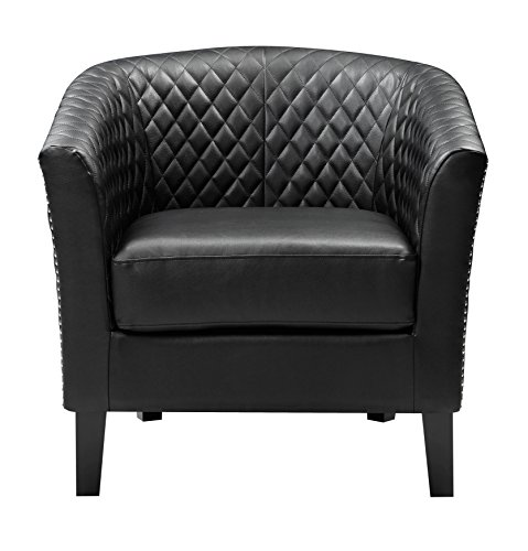 - Pulaski Black Faux Leather Upholstered Bucket Accent Chair with Chrome Nailhead, Medium