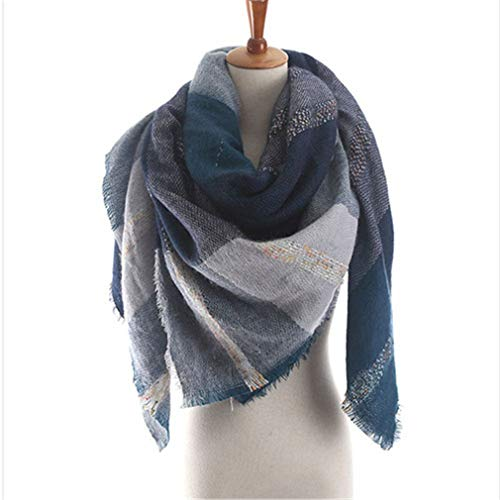 Chic-Dona Winter Cashmere Scarfs Women Soft Pashmina Square Shawls and Wraps Fashion Plaid Blankets 140Cmx140cm Blue by Chic-Dona