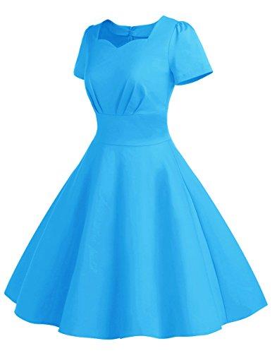 Dresstells®Vestido Mujer Corto De Estilo 1950 Vintage Con Manga Corta Blue