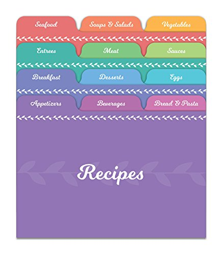 Recipe Box Dividers - Jot & Mark Recipe Card Dividers | 24 Tabs per Set, Works With 4x6 Inch Cards, Helps Organize Recipe Box (Rainbow)