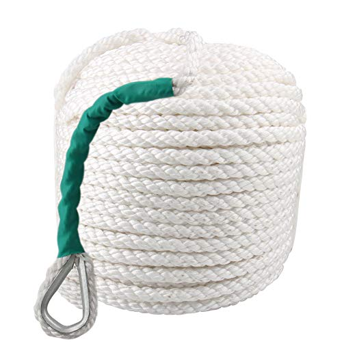 Twist Anchor Boat Rope, Bang4buck 1/2 Inch 100 Feet Nylon Three Strand Dockline Braided Rope/Boat/Sailboat/Sled Line with Thimble and 5850LB Breaking - 3 Strand Nylon Rope Twist