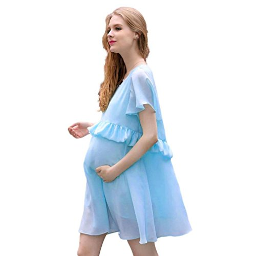 Leather Trim Candy (For Pregnant Women,Vanvler Fashion Pregnant Women Summer Chiffon Short Sleeve Pure Candy Color Dress (M, blue))