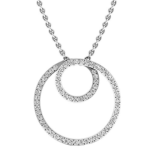 DazzlingRock Collection 0.35 Carat (ctw) 14K White Gold Round Diamond Ladies Circle Pendant (Silver Chain Included) 1/3 - Circle Gold Pendant White