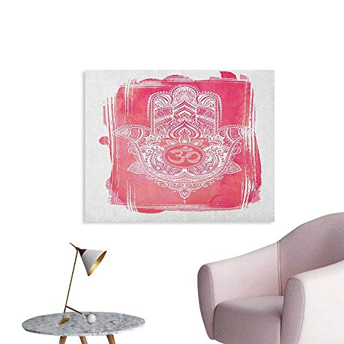 - Anzhutwelve Hamsa Wallpaper Vintage Style Esoteric Sign on Watercolor Frame Arabic Artwork Religion Lotus Custom Poster Dark Coral White W36 xL32