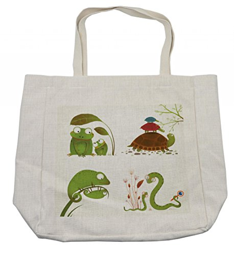 Ambesonne Reptile Shopping Bag, Reptile Family Colorful Baby