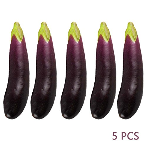 Lorigun 5Pcs Artificial Eggplants Simulation Fake Vegetable Photo Props Home Decoration by Lorigun
