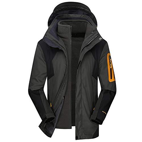 iDWZA Men's Winter Hoodie Two Piece Set Warm Waterproof Windproof Outdoor Outfit Coat(Gray,XL)]()