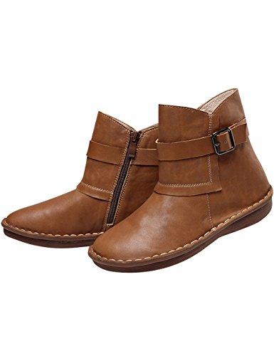 Chiusura Boots Donna Pelle 2 Retro Stile Marrone Della Scarpe Youlee Lampo Di dngO0qXUwX