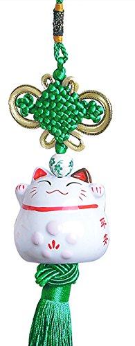 Maneki Neko - Japanese Lucky Cat Charm - Porcelain Figurine Hanging Pendant (Green)