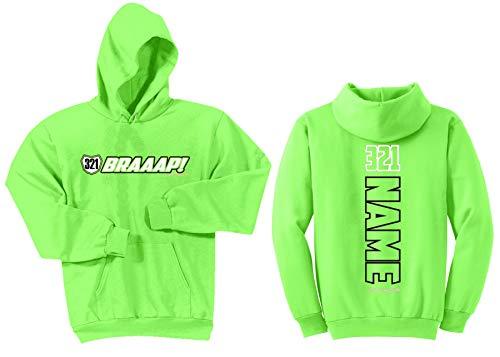 - JUST RIDE Braaap! Youth Hoodie Sweatshirt Motocross Number Plate Custom Personalized (YL (14-16), Lime)