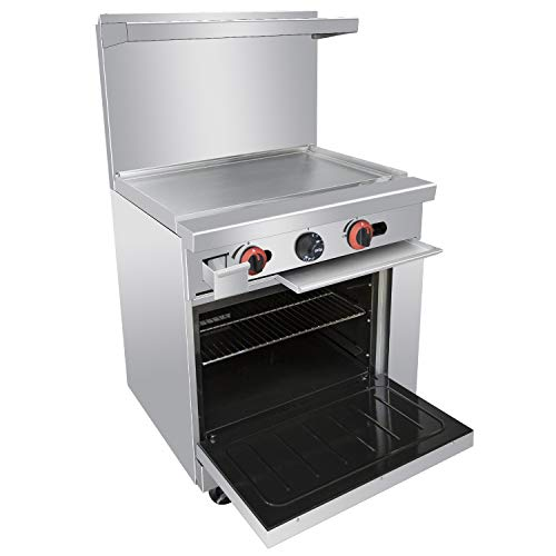 - Commercial 24''Gas Range With Griddle and Standard Oven - Kitma Heavy Duty Natural Gas Cooking Performance Group for Kitchen Restaurant, 72,000 BTU