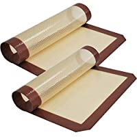 """Silicone Baking Mat - Set of 2 Half Sheet (11 5/8"""" x 16 1/2"""") - Non Stick Silicon Liner for Bake Pans & Rolling - Macaron/Pastry/Cookie/Bun/Bread Making - Professional Grade Nonstick"""
