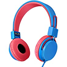 Kids Headphones Wired Over Ear Headset - 85dB Volume Limited Stereo Foldable Adjustable Tangle-Free Headphones for Kids and Adults, School Girls and Boys (Blue/Red)