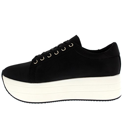 Womens Summer Chic Festival Casual Fashion Platform Wedge Heel Sneakers Black/White YVlcmYyfp