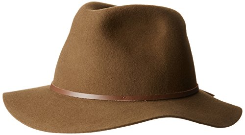Brixton Men's Wesley Medium Brim Felt Fedora HAT, Olive/Light Brown, -
