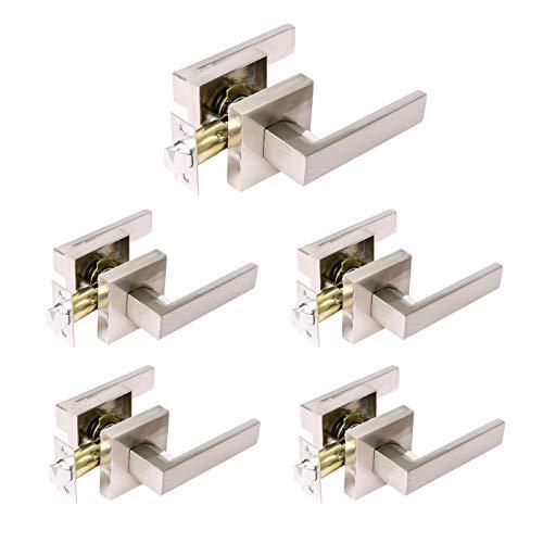 - 5PCS Passage Heavy Duty Door Lever Sets Left & Right-Handed Open Lever, Office Door Handles; Door Knobs for Hallway/Closets/Laundry in Satin Nickel Finish (Keyless Unlocking)