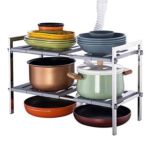 2 Tier Under Sink Shelf Organizer Expandable Cabinet Storage Rack for Kitchen Bathroom, Stainless Steel + Plastic Panel