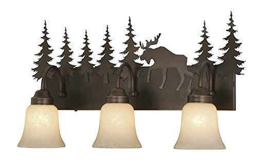 Vaxcel VL55603BBZ Yellowstone 3 Light Vanity Light, Burnished Bronze Finish For Sale