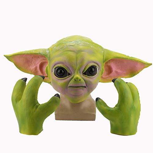 Mascara Yoda Horror + Garras Se Puede Usar una Circunferencia de la Cabeza de 54 a 60 cm Material de latex Transpirable y Confortable Adecuado para Halloween, Juegos de rol