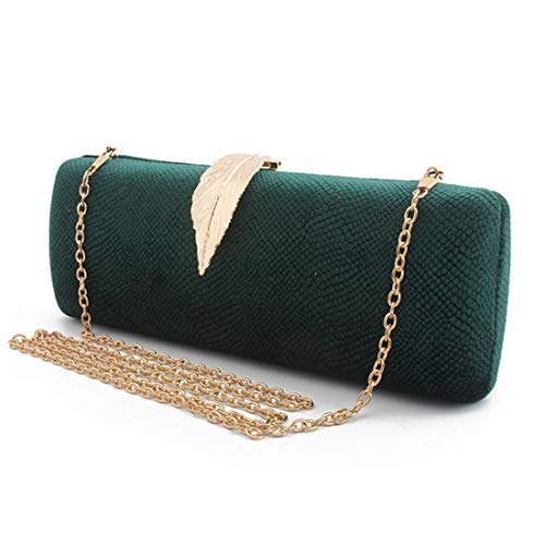 Womens Elegant Velvet Cocktail Evening Handbag Wedding Evening Party Clutch Bag (GREEN)