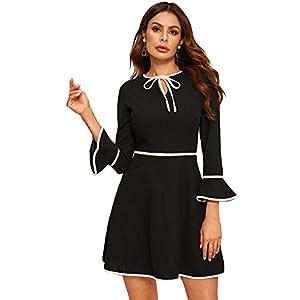Verdusa Women's Tie Neck Contrast Binding Flounce Sleeve Short Dress