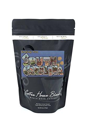 (South Carolina - Large Letter Scenes (8oz Whole Bean Small Batch Artisan Coffee - Bold & Strong Medium Dark Roast w/ Artwork))