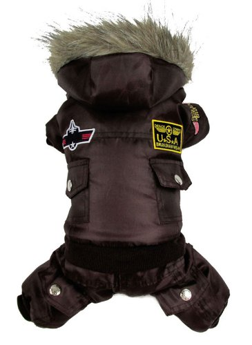SMALLLEE_LUCKY_STORE Pet Cat Dog Clothes US Air Force Pilot Fleece Lining Coat Jumpsuit Small Dog Costumes Brown L -