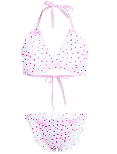 YiZYiF Men's Sheer Nylon Hearts Print Halter Bra Sissy Panties 2 Piece Lingerie Set Pink Medium (Print Panties Sheer)