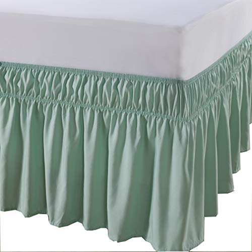 MEILA Three Fabric Sides Wrap Around Elastic Solid Bed Skirt, Easy On/Easy Off Dust Ruffled Bed Skirts 16 Inch Tailored Drop (LightGreen Queen/King)