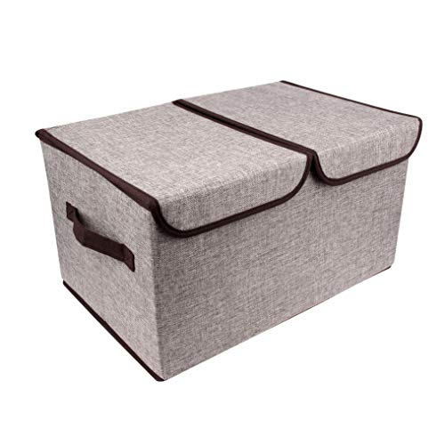 BaoYun 2 Section Storage Boxes with Lids and Handles Fabric Storage Box Cloth Storage Bins Cubes, Foldable Closet Organizer for Nursery, Closet ,Clothes, Toy, Home, Office, Bedroom (Grey) (Grey)