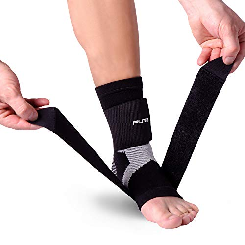 Pure Athlete Ultimate Ankle Support Brace - Compression Sleeve with Adjustable Straps for Extra Support - Running, Basketball, Soccer (Black - 1 Support, Large)