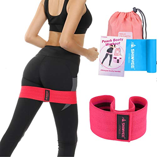 Shinyee Booty Hip Bands High Resistance Bands for Legs and Butt Workout Loop Exercise Band Women,Gym Fitness Circle Non Slip No Roll Fabric Heavy Duty Bootie Training Glute Band Hip (Red-S-12.9in)