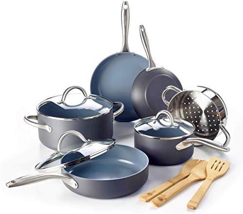 GreenPan Lima Ceramic Non-Stick Cookware Set, 12pc Renewed