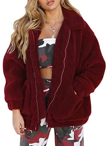 Faux XXL with Warm S Fluffy Womens Wine Jacket Aleumdr Coat Zip Outwear Pockets Sweater Fur ETqxa