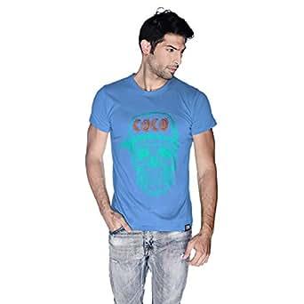 Creo Cyan Orange Coco Skull T-Shirt For Men - Xl, Blue
