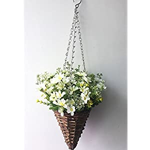 Lopkey Artificial Daisy Flowers Outdoor Indoor Patio Lawn Garden Hanging Basket with Chain Flowerpot 58