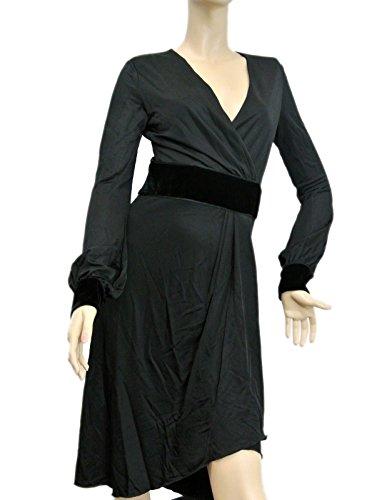 Gucci Women's Black Runway Shiny Jersey Without Belt Viscose Medium Dress 304532