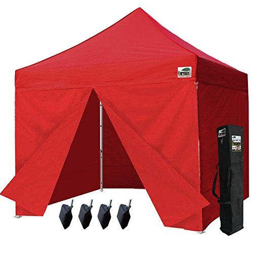 Commercial Four (Eurmax 10 X 10 Ez Pop up Canopy Gazebo Commercial Tent with 4 Zippered Side Walls and Carry Bag, Red)