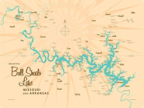 Bull Shoals Lake MO Arkansas Vintage-Style Map Metal Art Print by Lakebound (18