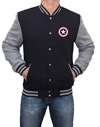 Decrum Grey and Black Mens Varsity Jacket - High School Superhero Varsity Jacket |Captan, M -